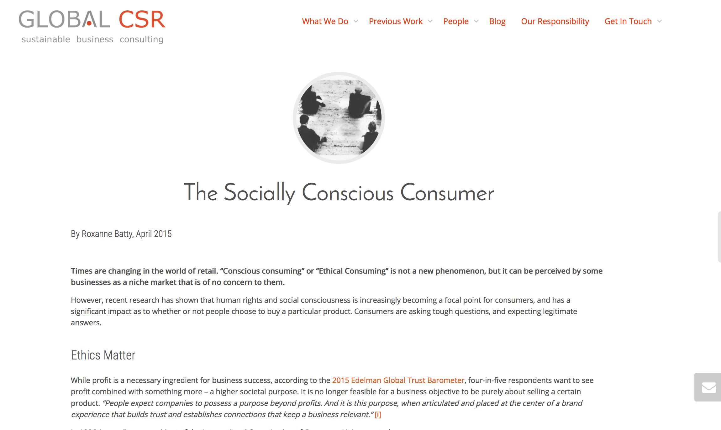 Corporate Blogging - Socially Conscious Consumer