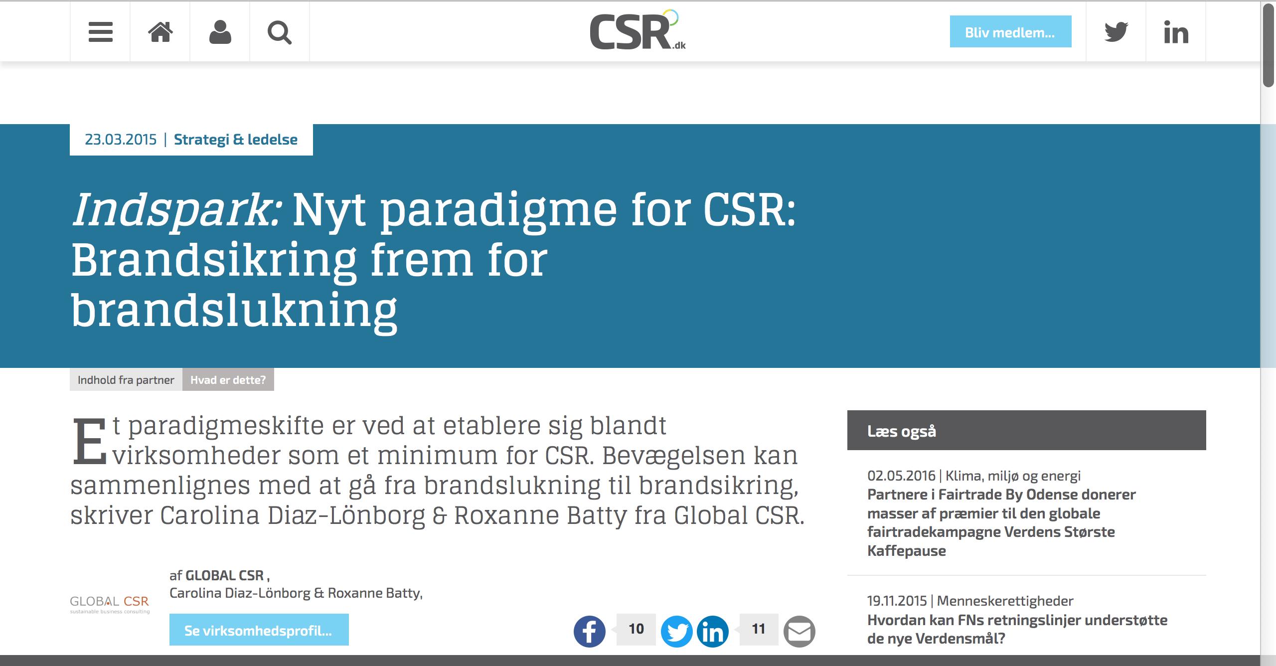 Blog: Nyt Paradigme for CSR. CSR.dk