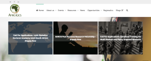 Africalics homepage with banner