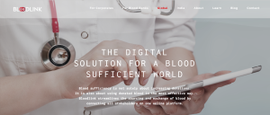 A website homepage with copy text about BloodLink's services